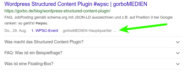 structured content event serp